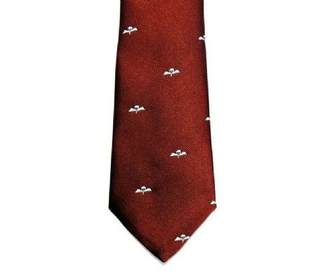The Parachute Regiment regimental neck tie in maroon with embroidered airbourne wings motif for only £17.99